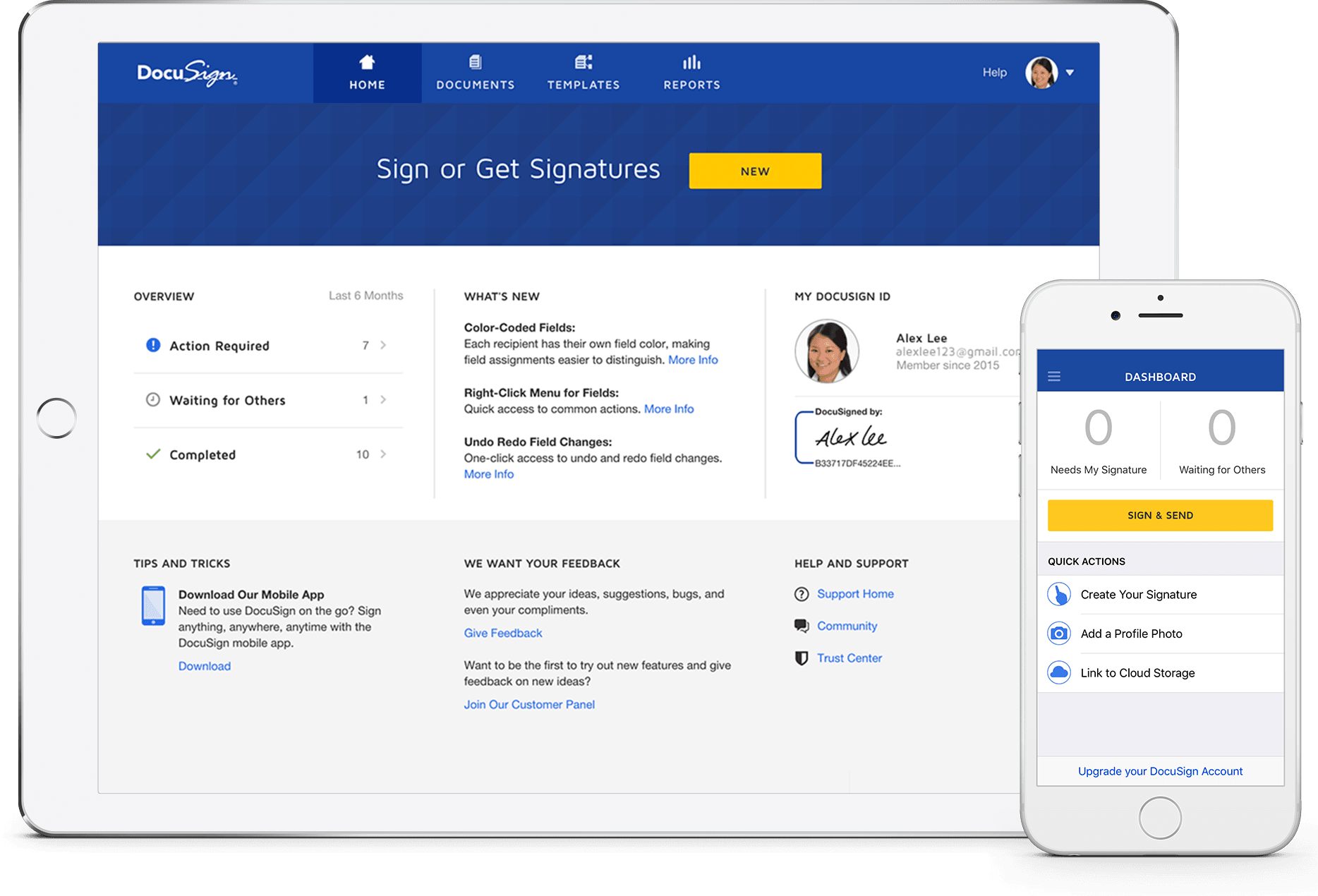 DocuSign desktop en mobiel produkt