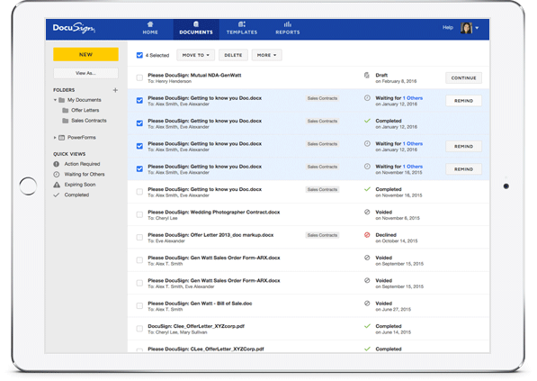 De ervaring van documentmanagement van DocuSign