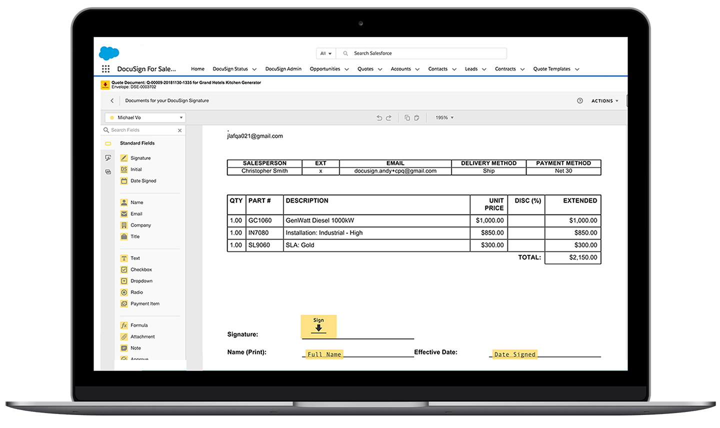 Een laptop met de Salesforce-interface en een DocuSign-documentmap die wordt bewerkt
