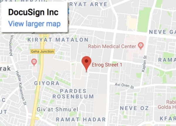 Map image of Israel office's address